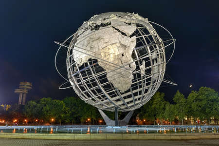 flushing: Flushing, New York - September 19, 2015: The iconic Unisphere in Flushing Meadows Corona Park in Queens, NYC. The 12 story structure was commissioned for the 1964 NYC Worlds Fair.