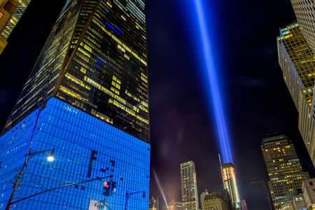 tribute: New York , New York - September 11, 2015: September 11th tribute in light in New York City.