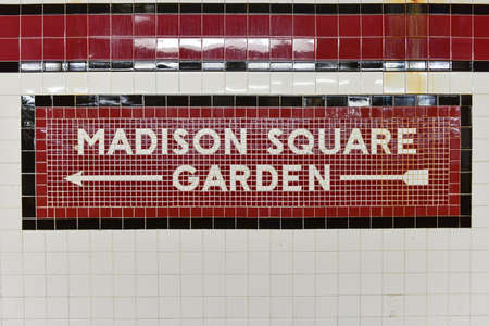 New York City - October 7, 2015: Madison Square Garden sign at the 34th Street Pennsylvania Station Subway stop in New York City.