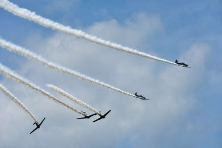 Acrobatic Air Show on a sunny day.
