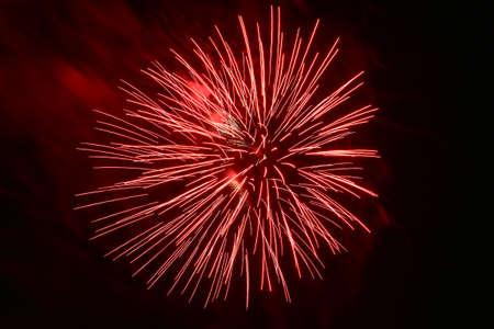 Coney Island Fireworks on the beach on a summer evening in Brooklyn, New York.