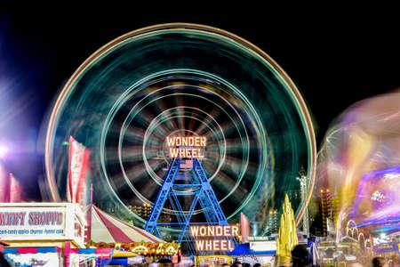 coney: Brooklyn, New York - August 28, 2015: Wonder Wheel: Coney Islands Luna Park in Brooklyn, New York. Editorial