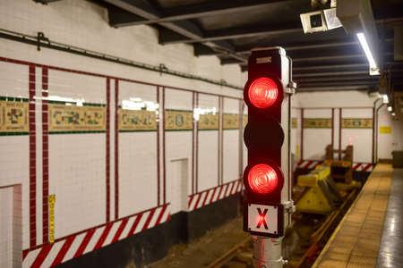 New York City - October 16, 2015: End of the line at the Eighth Avenue Subway station in the NYC Subway system in Manhattan on the L Line.