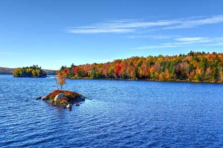 Adirondacks Peak Fall Foliage in Rock Island Bay, New York. Banco de Imagens