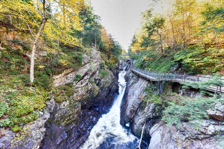 Adirondacks Peak Fall Foliage in upstate New York along the Ausable River and High Falls Gorge. Banco de Imagens