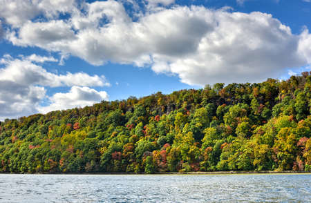 hudson river: Fall foliage in New Jersey as seen from the Hudson River.