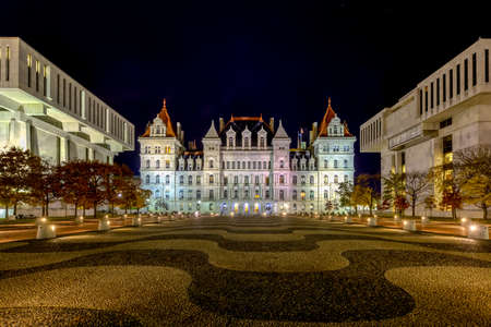 The New York State Capitol Building in Albany, home of the New York State Assembly at night. Sajtókép