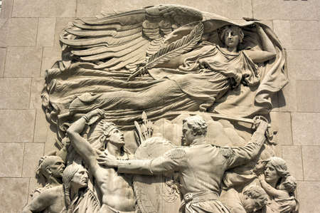 michigan avenue: Michigan Avenue bridge relief in Chicago. The relief called Defense depicts Ensign George Ronan in a scene from the 1812 Battle of Fort Dearborn. Stock Photo