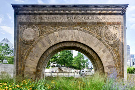 stock exchange: Chicago Stock Exchange Building Arch. One of the few surviving fragments from the Chicago Stock Exchange building designed in 1893 and demolished in 1972. Editorial
