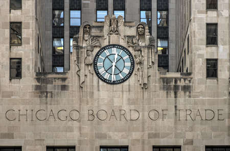 trade: Chicago Board of Trade Building, Chicago, Illinois. The art deco building was built in 1930 and first designated a Chicago Landmark on May 4, 1977. Editorial