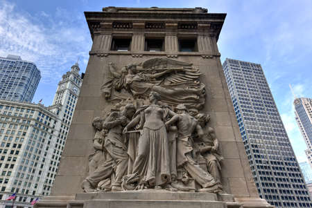 michigan avenue: Michigan Avenue bridge relief in Chicago. The relief called Regeneration depicts workers rebuilding Chicago after the Great Chicago Fire of 1871.