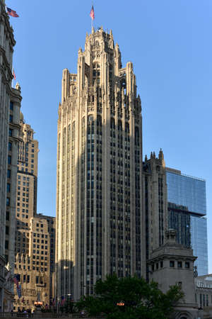 famous industries: Chicago, Illinois - September 5, 2015: Famous Tribune building in downtown of Chicago, Illinois.