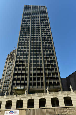 equitable: Chicago, Illinois - September 5, 2015: 401 North Michigan (Equitable Building) is a 35-story skyscraper in the Streeterville area of Chicago, built in 1965, along the north bank of the Chicago River.