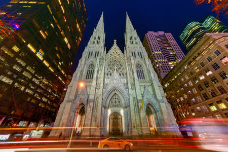 roman catholic: New York - November 8, 2015: The Cathedral of St. Patrick is a decorated Neo-Gothic-style Roman Catholic cathedral church in the United States and a prominent landmark of New York City.