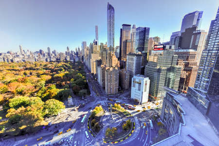 christopher columbus: New York City - November 8, 2015: Aerial view of Central Park South and residential skyscrapers in New York City, New York by Columbus Circle. Editorial