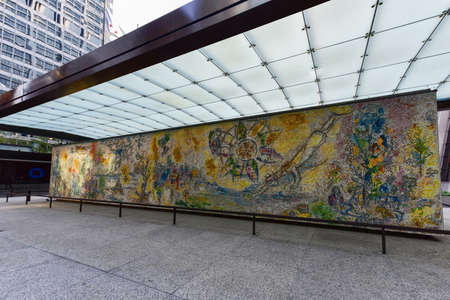 chagall: Chicago - September 6, 2015: Four Seasons is a mosaic by Marc Chagall that is located in Chase Tower Plaza in the Loop district of Chicago, Illinois.