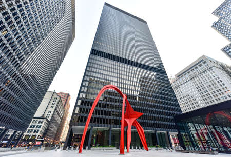 Chicago - September 6, 2015: Flamingo, in the Federal Plaza in Chicago. The stabile was constructed by American sculptor Alexander Calder, under the Percent for Art program. Sajtókép