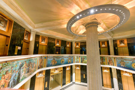 marquette: Chicago - September 6, 2015: The Marquette Building completed in 1895 is a Chicago landmark. The mosaics, sculptures and bronze of the entry and interior honors Jacques Marquettes 1674-5 expedition.