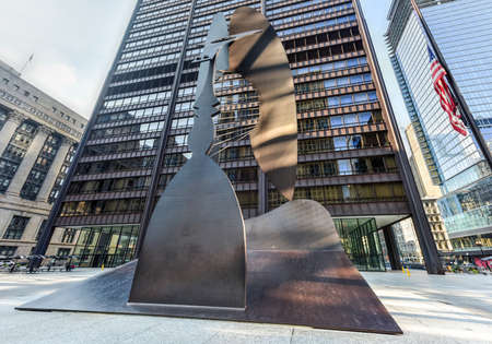 massive: Chicago - September 6, 2015:  Untitled massive sculpture in a plaza in downtown Chicago by Picasso.