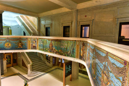 Chicago - September 6, 2015: The Marquette Building completed in 1895 is a Chicago landmark. The mosaics, sculptures and bronze of the entry and interior honors Jacques Marquettes 1674-5 expedition.