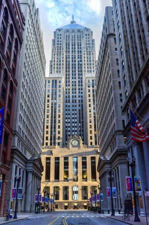 chicago: Chicago - September 7, 2015: Chicago Board of Trade Building along La Salle street in Chicago, Illinois. The art deco building was built in 1930 and first designated a Chicago Landmark on May 4, 1977.