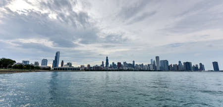 hancock building: View of the Chicago Skyline over Lake Michigan.