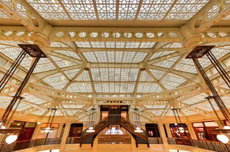 burnham: Chicago - September 8, 2015: Lobby in the Rookery Building, a historic landmark located at 209 South LaSalle Street in the Loop community area of Chicago in Cook County, Illinois, United States.