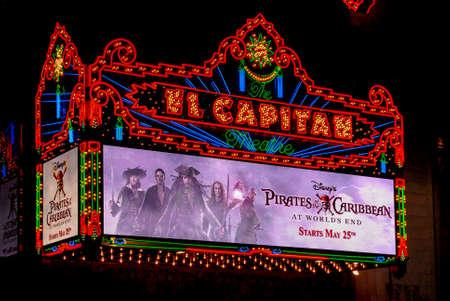Los Angeles - May 15, 2007: El Capitan Theater in Hollywood. El Capitan Theater is owned and operated by The Walt Disney Company.