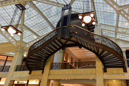 Chicago - September 8, 2015: Lobby in the Rookery Building, a historic landmark located at 209 South LaSalle Street in the Loop community area of Chicago in Cook County, Illinois, United States.
