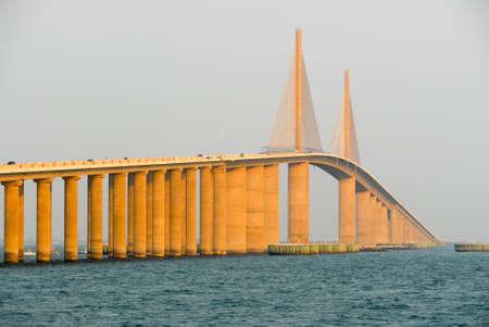 Sunshine Skyway Bridge at sunset in Tampa Bay, Florida.