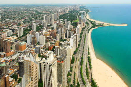 Chicago, Illinois in the United States. City skyline with Lake Michigan and Gold Coast historic district, North Side and Lincoln Park.