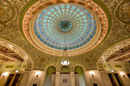 largest: Chicago - September 8, 2015: Worlds largest Tiffany glass dome ceiling in the Cultural Center in Chicago, Illinois.