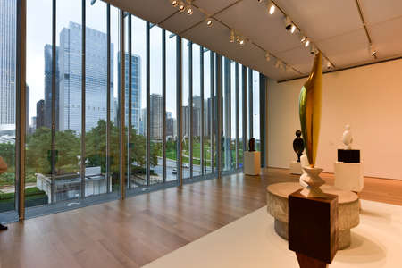 chicago: Chicago - September 8, 2015: Skyline view of Chicago from the Art Institute of Chicago. Editorial