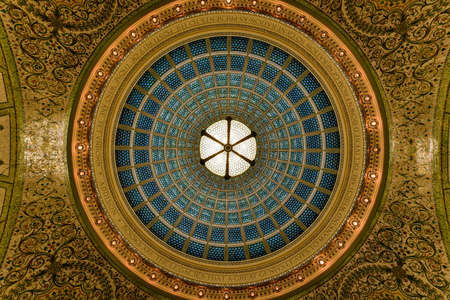 ceiling: Chicago - September 8, 2015: Worlds largest Tiffany glass dome ceiling in the Cultural Center in Chicago, Illinois.