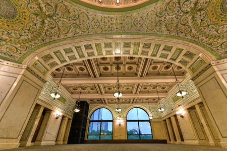 local landmark: Chicago - September 8, 2015: Worlds largest Tiffany glass dome ceiling in the Cultural Center in Chicago, Illinois.