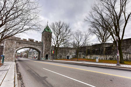 north gate: Saint Louis Gate in Quebec, Canada. Located in Canada, the Ramparts of Quebec City are the only remaining fortified city walls in North America north of Mexico and St. Augustine, Florida. Editorial