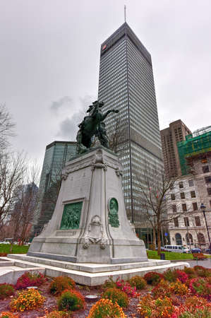 boer: Montreal, Canada - November 29, 2015: Equestrian statue sculpted by George W. Hill as part of the Montreal Boer War Memorial located in Dorchester Square in downtown Montreal, Quebec, Canada.
