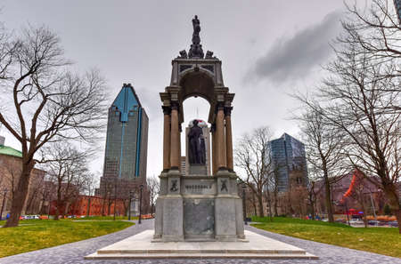 macdonald: John Macdonald Monument at Place du Canada in Montreal, Canada.