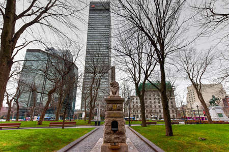 belfort: Montreal, Canada - November 29, 2015: Lion de Belfort, an attribute to Queen Victoria, Dominion Square, downtown, Montreal, Canada.