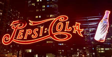 queensboro bridge: New York City - January 2, 2016: PepsiCola sign and Queensboro Bridge at night as seen from Gantry Plaza, Long Island. Editorial