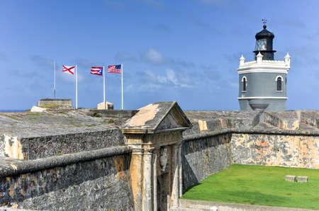 puerto rican flag: Castillo San Felipe del Morro also known as Fort San Felipe del Morro or Morro Castle. It is a 16th-century citadel located in San Juan, Puerto Rico. Editorial