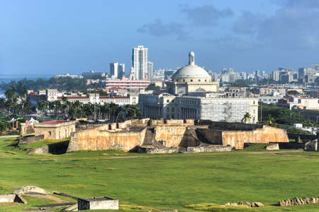 viejo: Puerto Rico Capitol (Capitolio de Puerto Rico) and Castillo de San Cristobal, San Juan, Puerto Rico. Castillo de San Cristobal is designated as UNESCO World Heritage Site since 1983.