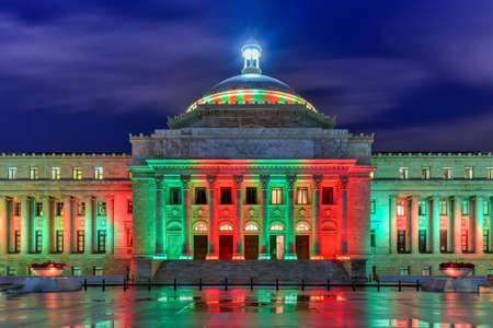 Puerto Rico Capitol (Capitolio de Puerto Rico) and Castillo de San Cristobal, San Juan, Puerto Rico. Castillo de San Cristobal is designated as UNESCO World Heritage Site since 1983.