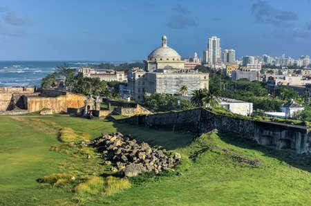 capitolio: Puerto Rico Capitol (Capitolio de Puerto Rico) and Castillo de San Cristobal, San Juan, Puerto Rico. Castillo de San Cristobal is designated as UNESCO World Heritage Site since 1983.