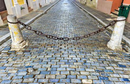 san juan: Blue cobblestone streets of San Juan, Puerto Rico.