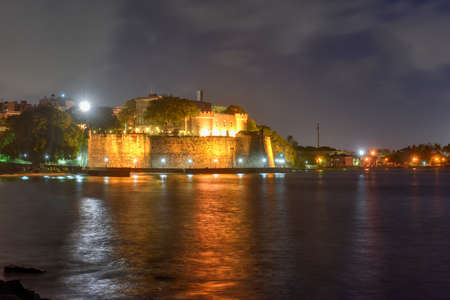 san juan: Old San Juan City Walls at night in Puerto Rico.