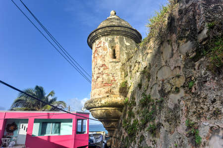 viejo: City Walls and lookout along the streets of San Juan, Puerto Rico.
