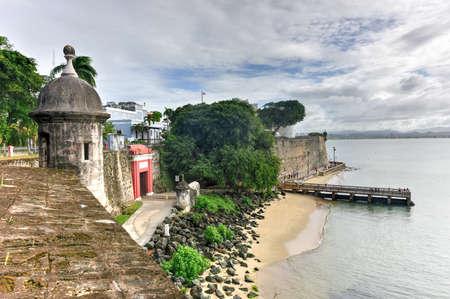 paseo: Old San Juan, Puerto Rico coast at Paseo de la Princesa from Plaza de la Rogativa.