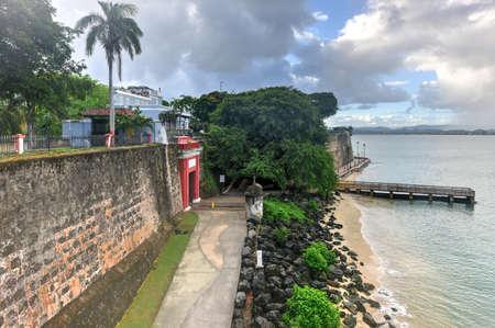 san juan: San Juan Gate in the old city in San Juan, Puerto Rico. Last remaining of the original gates to the city walls.