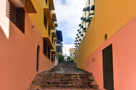 san juan: Nuns Stairway (Escalinata de las Monjas) in Old San Juan, Puerto Rico. Stock Photo